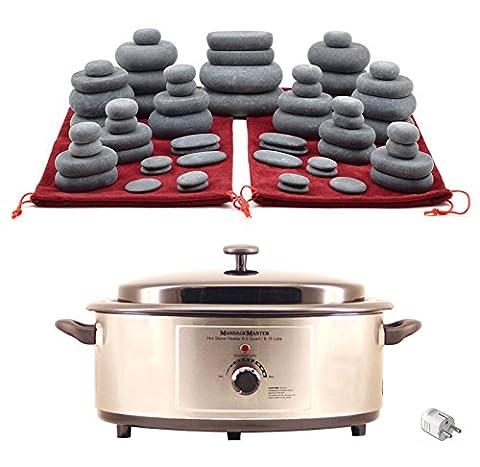 MassageMaster HOT STONE MASSAGE KIT: 60 Basalt Steine + Wärmegerät