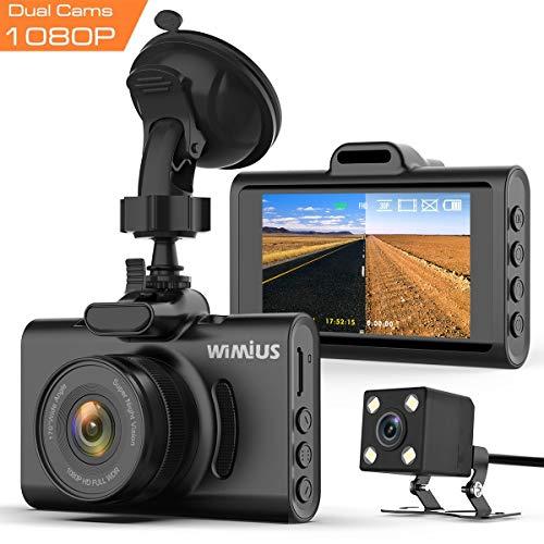 """Caméra de Voiture, WIMIUS Double Dash Caméra Voiture Embarquée Enregistreur de Conduite Full HD 1080P 170° IPS Écran 3.0"""" Dashcam Voiture avec G-Capteur, Vision Nocturne, Moniteur de..."""