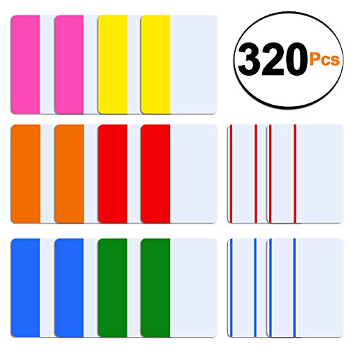 SIQUK 320 Stück Tabs 2 Zoll Index Tabs Sticky Page Marker Farbband Flag Dispenser zum Lesen von Notizen, Bücher und Ordner, 8 Sets 6 Farben