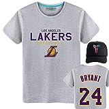 Shocly Manica Corta T-Shirt Maglietta Los Angeles Lakers No.23 James Kobe Bryant Pallacanestro Club Round Neck da per Uomo,Gray,M/170CM