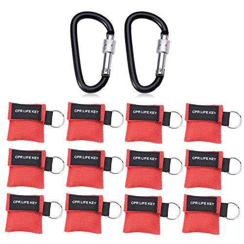 12 mascarillas Cymax RCP con mosquetón, mascarilla respiratoria, llavero, mascarilla de primeros auxilios, emergencia, de bolsillo, roja, Rote-12pcs, 14
