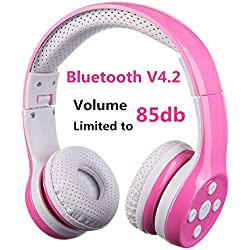 Auriculares Bluetooth para niños, Hisonic Auriculares Plegable para niños con Volumen Limitado Compatible con iPhone,iPad Mini, iPad,PC,MP3 y más Dispositivos Bluetooth, niños (Rosa)