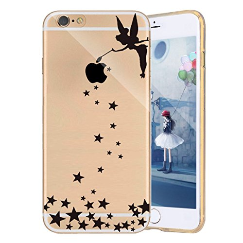iPhone 7 Plus Fall, ikasefu Cartoon Creative Muster Crystal Clear TPU Gummi Gel Transparent Stoßdämpfung Flexible Soft Bumper Case Cover für iPhone 7 Plus 14 cm Angel girl