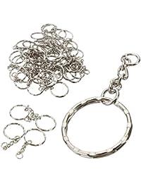 MOHOO 50pcs 25mm Porte-Clés/claviers set avec anneaux Brisés et chaînes Blanks Argant Avec Chaîne en Alliage Artisanat