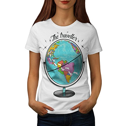 Wellcoda Globus Reisende Welt Karte Frau L T-shirt