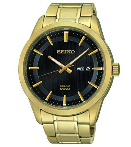 SEIKO-- SOLAR GENTS GOLD PLATED BRACELET WATCH (Seiko Uhren Kleid Herren)