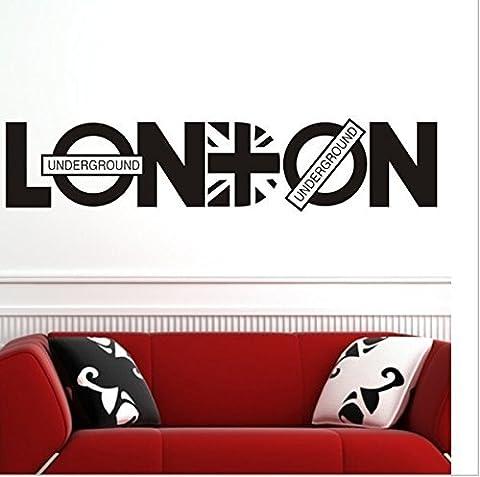 Winhappyhome LONDON Anglais Letter Stickers Muraux pour Salon Chambre Bureau Backdrop Amovible Decor Stickers