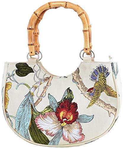 Bambus-stoff-handtaschen (Küstenluder Damen Tasche Peyton Tropical Bamboo Handtasche Creme)