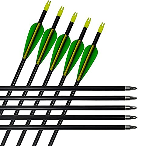 12pack Archery Aluminum Arrows Hunting Bow Arrows 300 Spine with Changeable Tips for Compound and Recurve