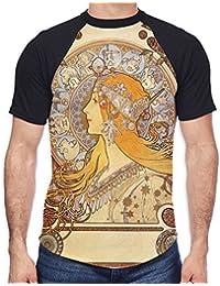 Tribal T-Shirts Alphonse Mucha Zodiac Men's All Over Graphic Contrast Baseball T Shirt