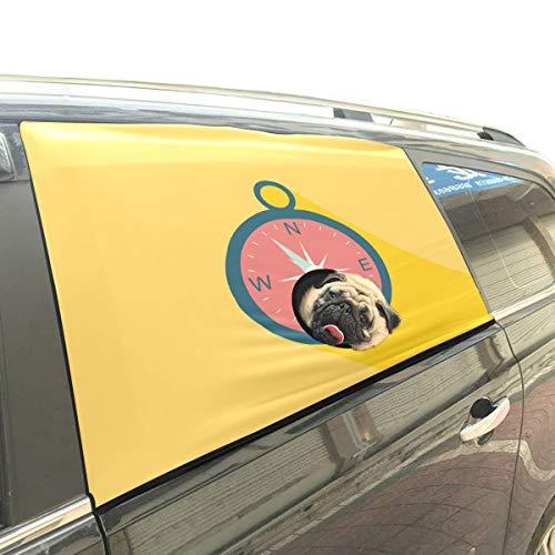 Alte alte nautische Schiff Anchor Campass Haustier Hund Sicherheit Auto gedruckt Fenster Zaun Vorhang Barrieren Beschützer für Baby Kind einstellbar flexible Sonnenschutz Abdeckung Universal für Suv (Nautische Outdoor-vorhänge)
