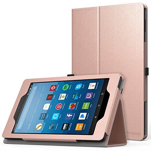 MoKo Hülle für All-New Amazon Fire HD 8 Tablet (7th Generation – 2017 Modell) - Kunstleder Ständer Schutzhülle Smart Cover mit Stift-Schleife für das neue Fire HD 8, Rose Gold