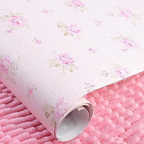 JLSZ Papel de pared de PVC pequeña e idílica saika estilo papel tapiz autoadhesivas mobiliario renovado polvos pastel estampado de flores , Tóner flor de luz inferior /5 m