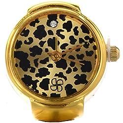 SODIAL(R) Anillo Reloj Metal Redondo Ajustable Leopardo Moda 22mm
