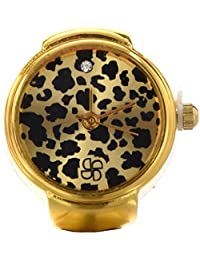 SODIAL(R) Anillo Reloj Metal Redondo Ajustable Leopardo Moda 22mm