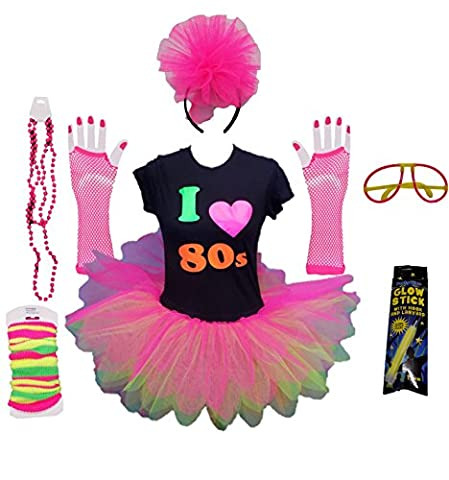 I Love the 80s Ladies Tutu Top Party Set Legwarmers Gloves Headband Glow Stick Beads (Small)