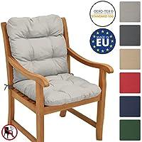 Beautissu Flair NL Cojín de asiento exterior con respaldo bajo 100x50x8 cm - Relleno de copos de gomaespuma - Gris claro