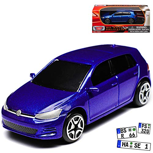 Motormax Volkwagen Golf 7 VII GTI 5 Türer Blau Ab 2012 1/64 Modell Auto mit individiuellem Wunschkennzeichen