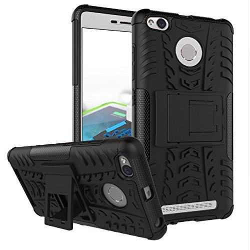 Chevron Hybrid Shock Proof Back Cover Case for Redmi 3S Prime (Black) [Hybrid Military Grade Rogue Back Cover From Chevron]