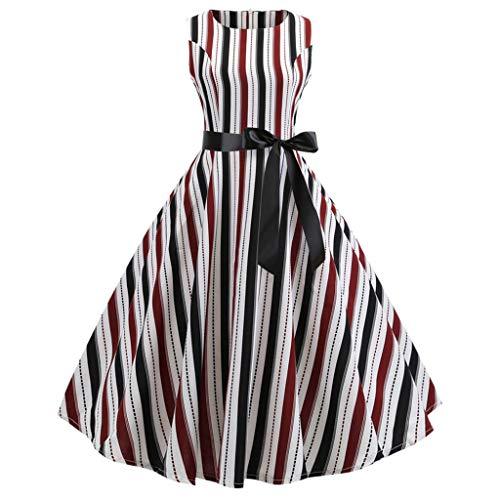 Gestreift gedruckt Kleid Damen Retro Runde Hals ärmellos große Schaukel Kleiderparty Swing Kleid URIBAKY