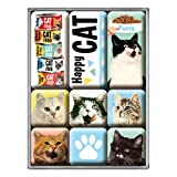 Nostalgic-Art 83093 Animal Club - Happy Cats, Magnet-Set (9teilig)