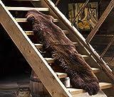 ESTRO Doppio Tappeto in Pelle di Pecora per La Casa Pelliccia Peloso (Marrone, 190 cm)
