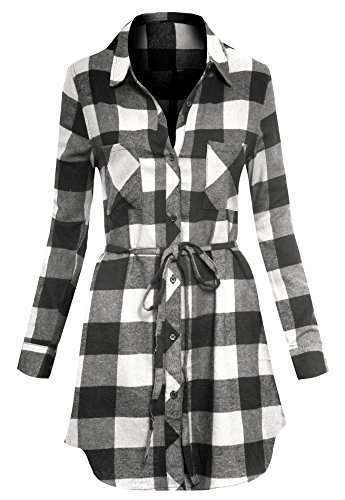 Kariertes Tunika Hemd Kleid für Frauen lange Ärmel Knopfleiste mit Gürtel (Plaid Flanell Teal)
