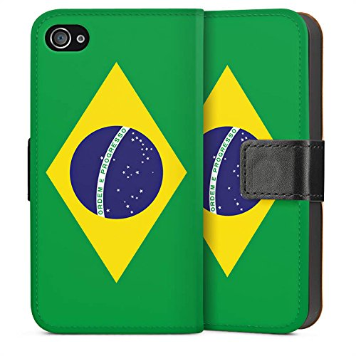 Apple iPhone 5s Housse Étui Protection Coque Brésil Drapeau Ballon de football Sideflip Sac