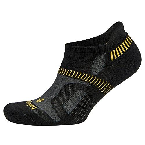 Balega Versteckter Contour Athletic Running Socken für Damen und Herren, Damen Mädchen Herren Jungen, schwarz/gelb, Large