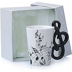 """Taza de cerámica con mango adorno - Diseño """"Clef"""" blanco, aproximadamente 0.2l - Taza de té y café para regalar - Grinscard"""