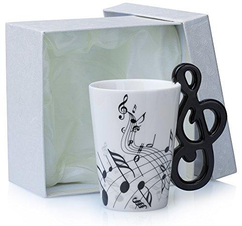 """Keramiktasse mit Motiv Henkel - Weiß """"Notenschlüssel"""" Design ca. 0,2l - Tee & Kaffee Tasse zum Verschenken - Grinscard"""
