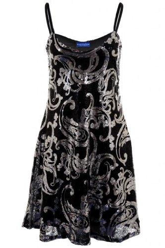 Sapphire Damen Weste mit Pailletten, glänzend, Paisleymuster, Flare Women'Skater Party Kleid Schwarz - Schwarz