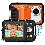 BYbrutek Macchina Fotografica per Bambini, 21MP FHD 1080P Fotocamera Subacquea Digitale Impermeabile a 5 Metri, 2,8 LCD, Zoom Digitale 8X, una Batteria Ricaricabile 1050MaH Inclusa (Arancio)