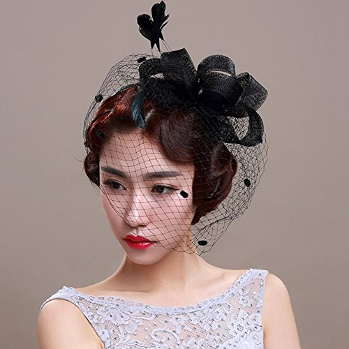 Veewon Damen Elegante Feder Fascinator Haarklammer Hüte Hochzeit Cocktail Netzschleier Stirnband (Schwarz) (Schwarz, Stirnband Stirnband)