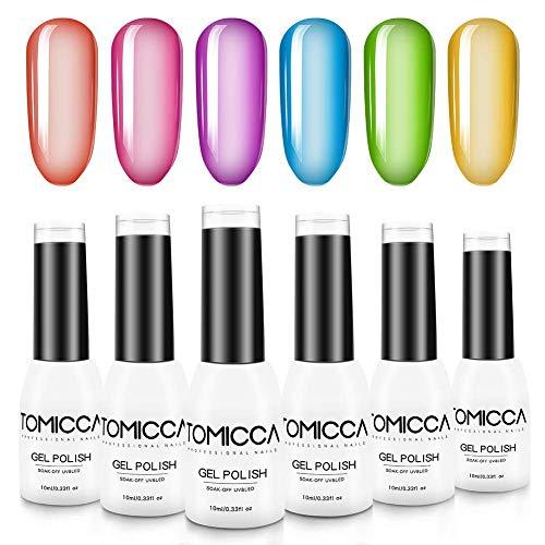 TOMICCA Smalto Semipermanente Fluo, Gel Unghie UV LED, 6pcs Smalti per Unghie Gel Colori, Regalo Kit Manicure Smalto per Unghie Semipermanente-
