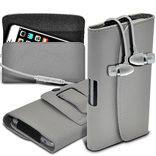 ONX 3 (Grau) Micromax Leinwand Tempo 4G Q 416 Fall Premium Horizontal Faux Leather Belt Holster Tasche Hülle, mit Stereo Ohrhörer aus Aluminium