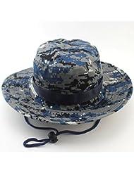 Unimango - Sombrero de ala ancha para senderismo, acampadas o viajes, con protección ultra-violeta y secado rápido, color Digital Blue Camouflage, tamaño large