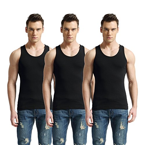 CozyWow Herren Baumwolle Tank Top Basic Unterhemd Ärmellos T-Shirt Schwarz Weiß Grau Weinrot M-XXXL 3er Pack