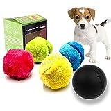 KOBWA Haustier-elektrischer Spielzeug-Ball, Mini-Roboter-Reiniger-Haustier-Bälle für Hunde Rollender Ball-Katzen-Spielzeug, elektrischer angetriebener sauberer Haushalts-Microfiber-Ball, Satz von 4