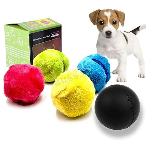 KOBWA Haustier-elektrischer Spielzeug-Ball, Mini-Roboter-Reiniger-Haustier-Bälle für Hunde Rollender Ball-Katzen-Spielzeug, elektrischer angetriebener sauberer Haushalts-Microfiber-Ball, Satz von 4 -