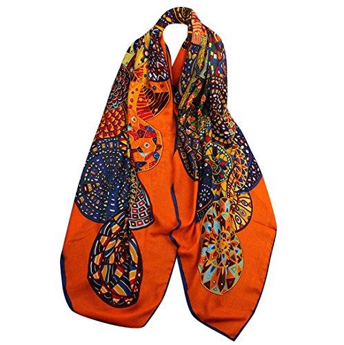 Aivtalk - Bufanda Verano Primavera Chal Playa Estampado Mosaico para Mujeres Pañuelo Suave Retro de Moda - Naranja
