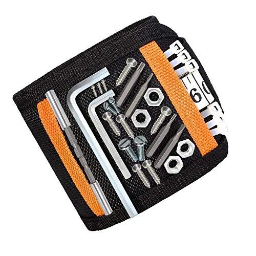 DASFOND Magnetisches Armband,Magnetarmband für Handwerker Geschenke, Einstellbare Magneten Armbänder für Holding Werkzeuge,Nägel,Schrauben,Bohrungen und kleine Werkzeuge-mit 15 starken Magneten
