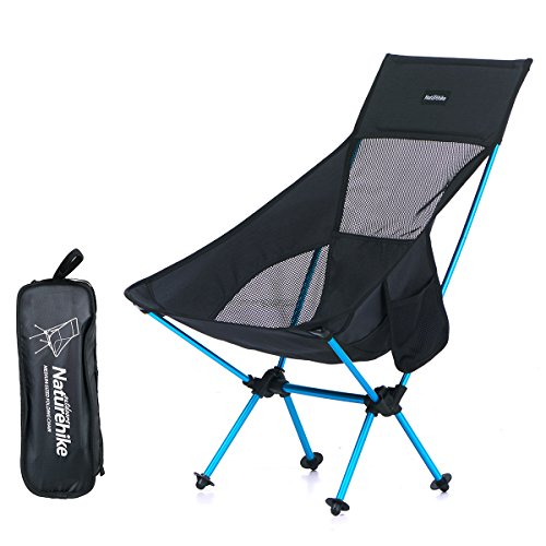 Azarxis Folding Camping Chair Backpacking Fishing Beach Picnic Chairs Seats Lightweight Light High Back Low Heavy Duty Outdoor Portable with Carry Bag for Hiking Travel (Black)