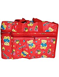 Het Enterprises Multi Purpose Baby Diaper Mother Bag With 2 Bottle Holders Red - Assorted Prints