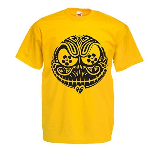 Männer T-Shirt Das Schädel-Gesicht - Der Alptraum - gruselige Halloween-Nacht (XX-Large Gelb (Kostüm Geist Ls)