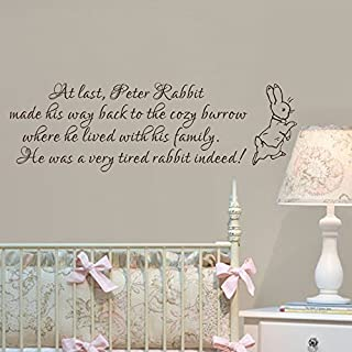 Baby Nursery Wall Decal Peter Rabbit Wall Sticker Vinyl Lettering Wall Art Quote(Black,xs)