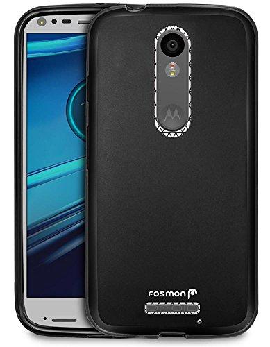DROID Turbo 2 hülle - Fosmon [DURA-FRO] [Slim] Schutz TPU Case Abdeckung für Motorola DROID Turbo 2 / Motorola Moto X Force (Schwarz)