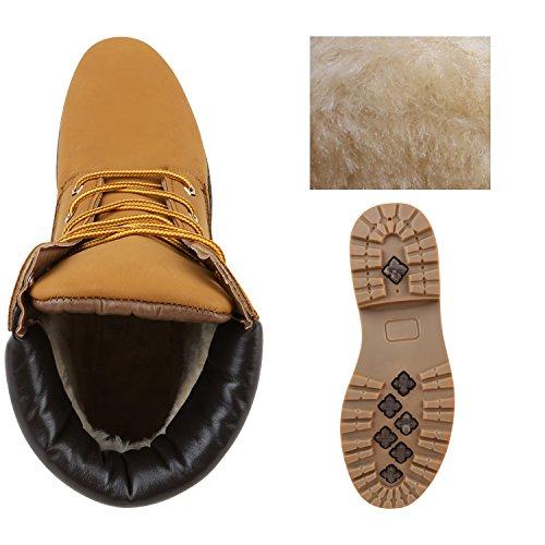 Stiefelparadies Damen Herren Unisex Worker Boots Profilsohle Outdoor Stiefeletten Warm Gefütterte Schuhe Camouflage Denim Übergrößen Flandell Hellbraun Hellbraun