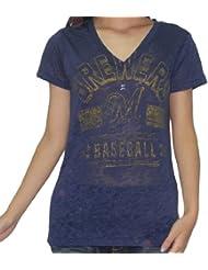 MLB Milwaukee Brewers femmes V-Neck T-Shirt (Vintage Look)