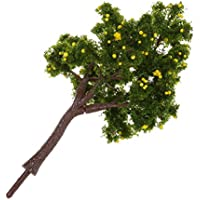 TOOGOO(R) 10pcs Modelo de arboles de fruta amarilla para Decoracion de Paisaje Paisaje 12cm